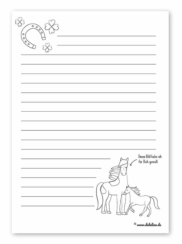 Kinder Briefpapier Vorlage Pferde gratis PDF Download zum Ausdrucken