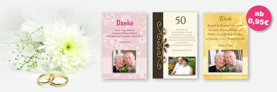 verschiedenen Danksagungskarten zur Goldnene Hochzeit
