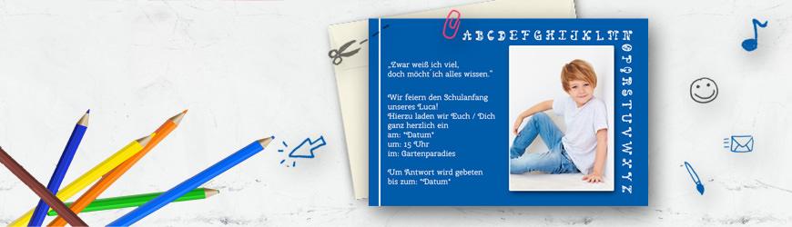 Einladungskarte zur Einschulung im Schulheft-Design