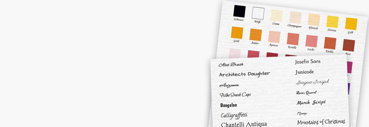 Schriften und Schriftfarben für Babykarten