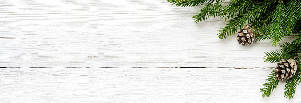 Holztisch mit Tannenzweig und Zapfen