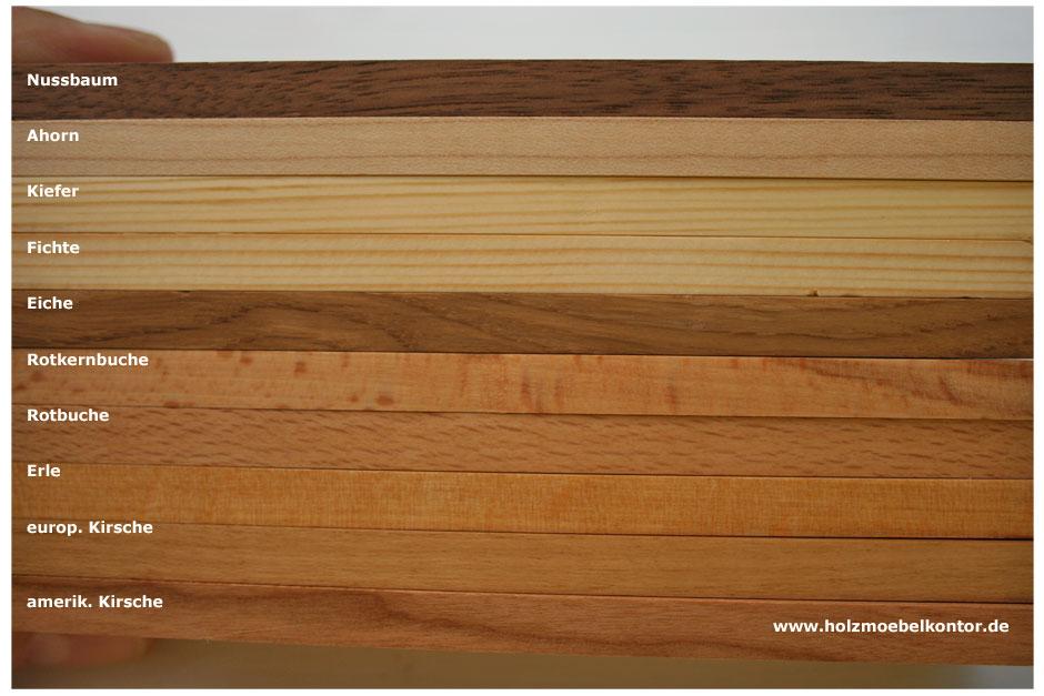 Holzarten für Massivholzmöbel  holzmoebelkontor.de