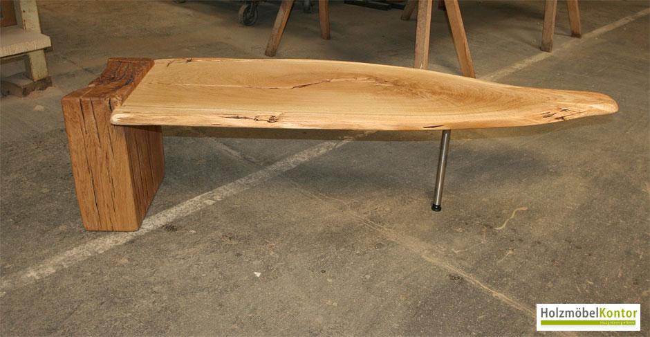 Tisch einzelst ck holzm belkontor for Esstisch naturholzplatte
