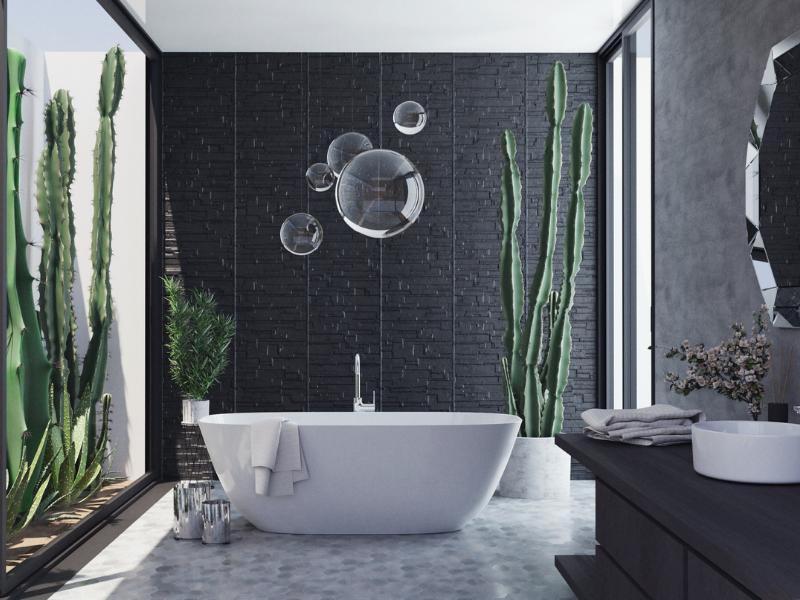 Badtrends und Einrichtungsideen schwarz-weiß