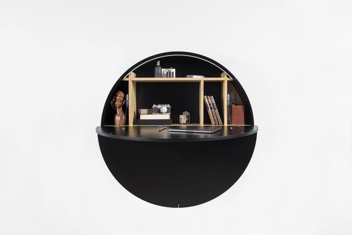 Wandsekretär Home-Office Design kaufen schwarz