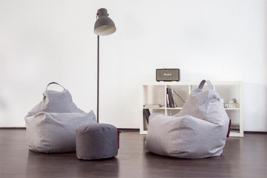 Sitzsack Indoor Design grau