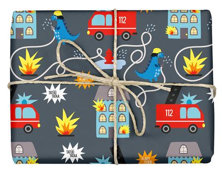 Feuerwehr Geschenkpapier für Kinder