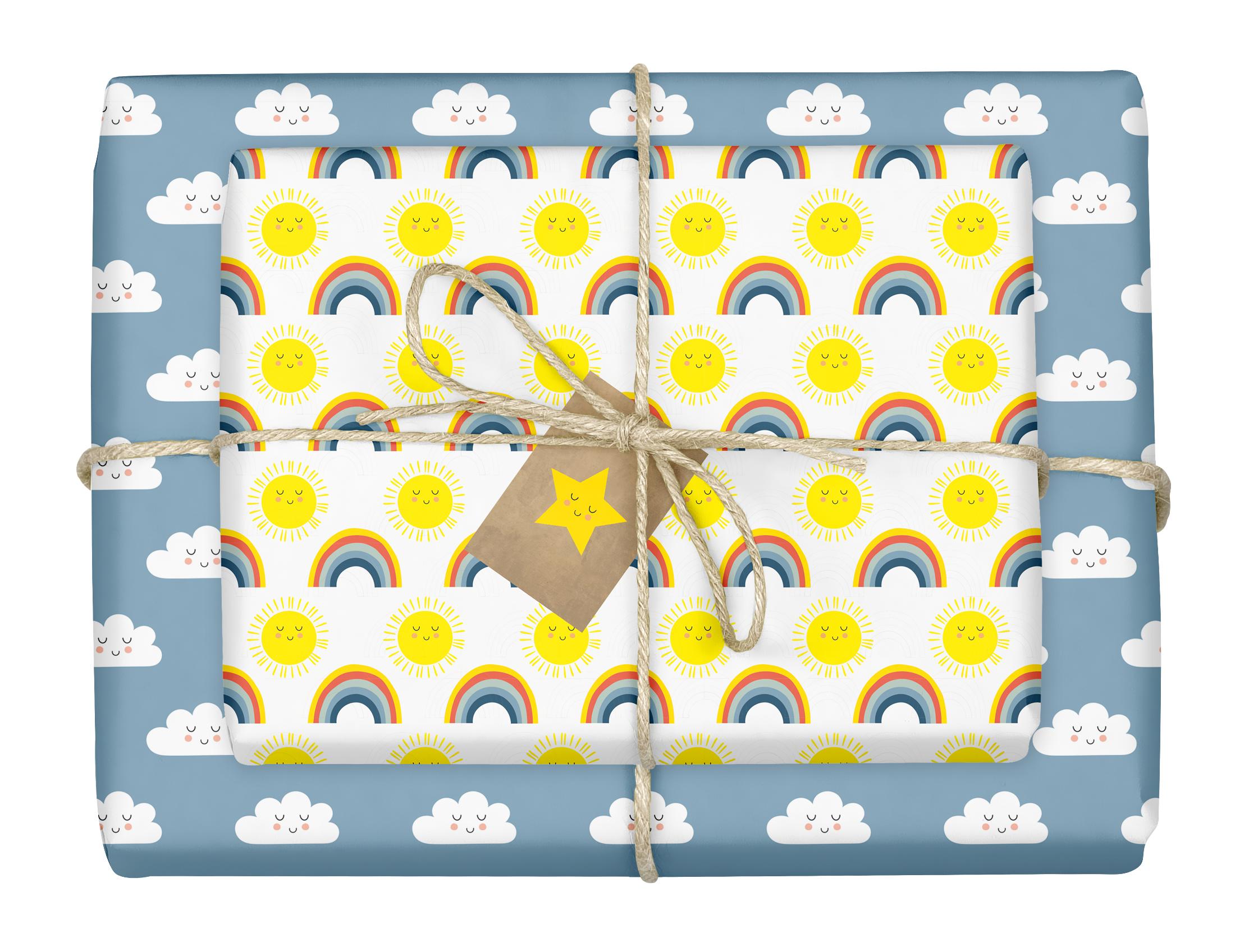 regenbogen_geschenkpapier_set_kinder-geburtstag_baby_geburt_maedchen_junge_bunt_wolken_blau_sonne_gelb_dabelino_recyclingpapier_01.jpg