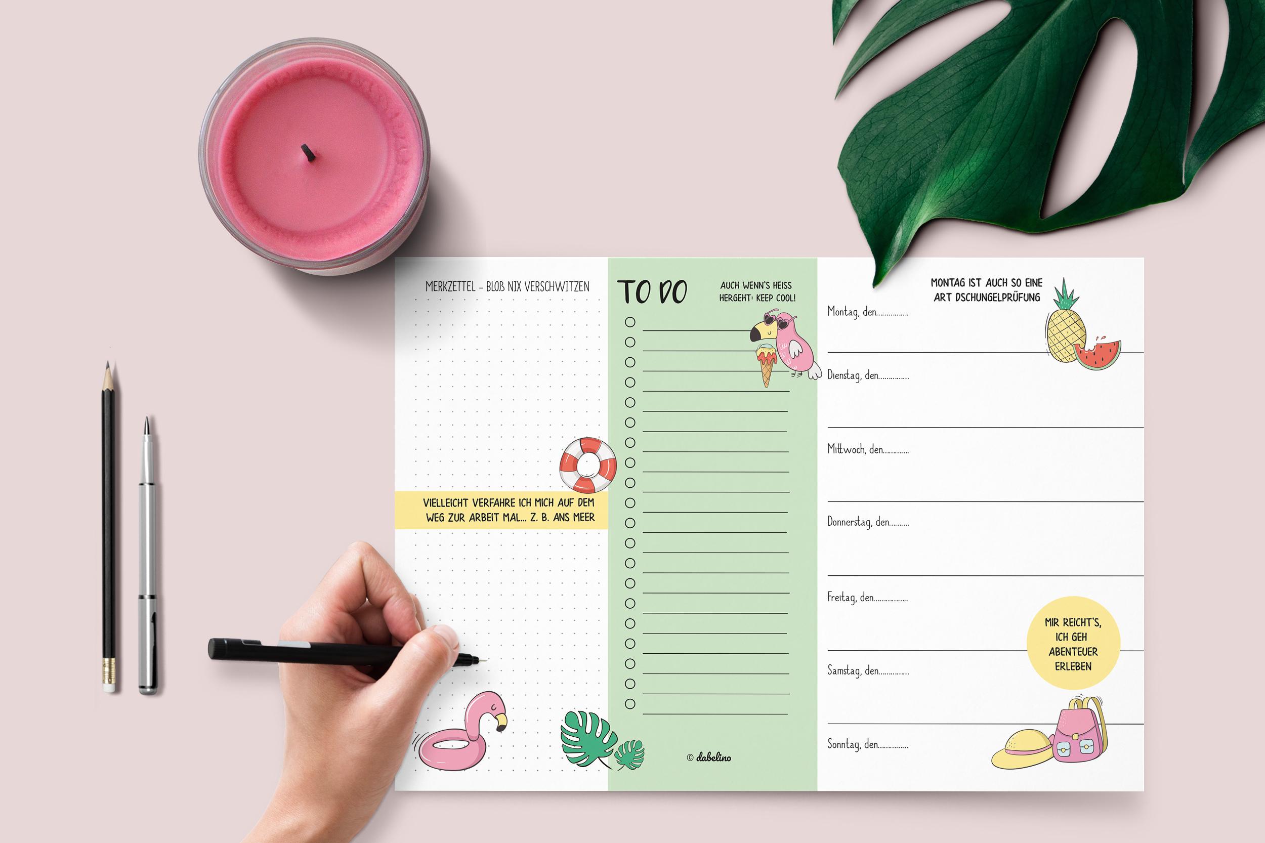wochenplaner_kalender_ohne_datum_block_a4_flamingo_to_do_liste_urlaub_ferien_packliste_ananas_monstera_melone_tropisch_dabelino_01.jpg