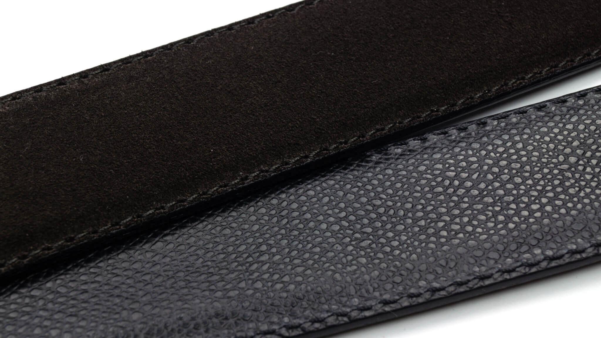 Wendegürtel 3,5 cm in Velour Dunkelbraun und Genarbtes Leder Schwarz
