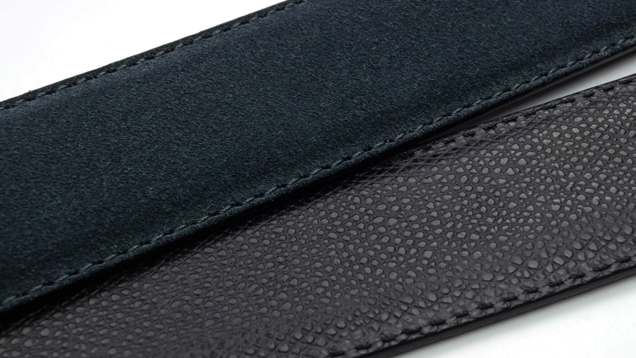Wendegürtel 3,5 cm in Velour Grau und Genarbtes Leder Schwarz