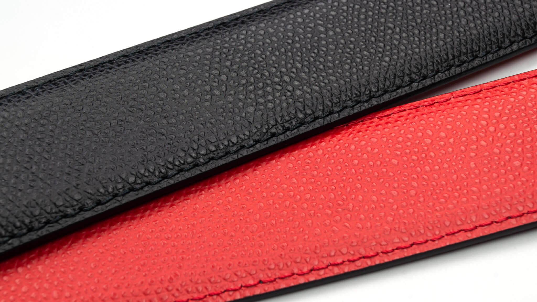 Wendegürtel 3,5 cm in Genarbtes Leder Schwarz / Rot
