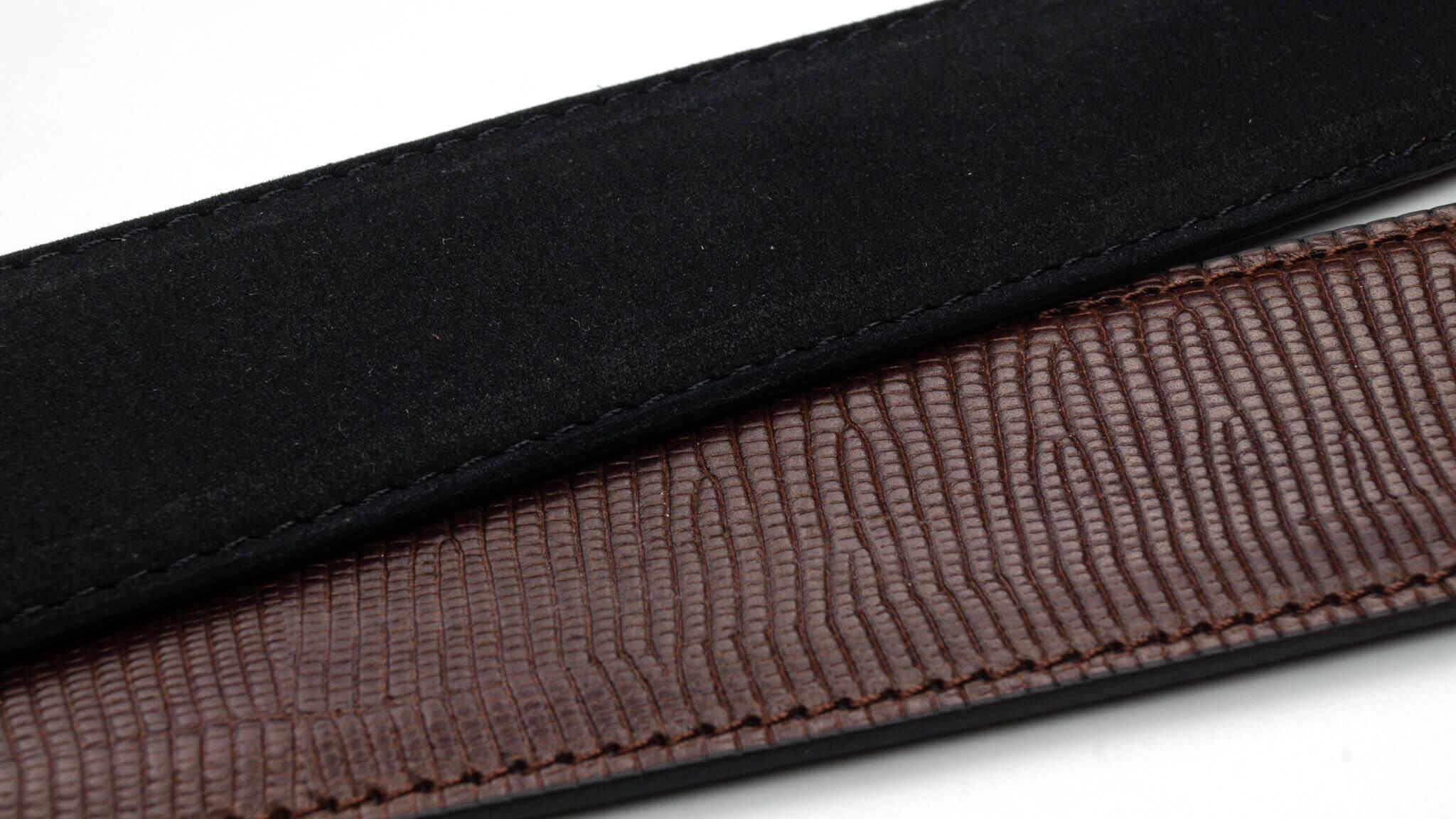 Wendegürtel 3,5 cm in Nubuk Schwarz und Echsen-Prägung Braun