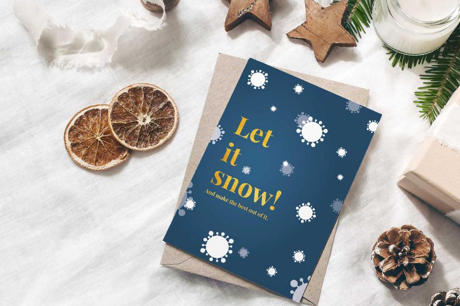 Grußkarten Weihnachten Corona 2021 Let It Snow