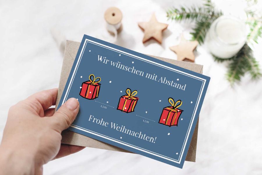 Grußkarte Weihnachten Corona 2021 Geschenke mit Abstand