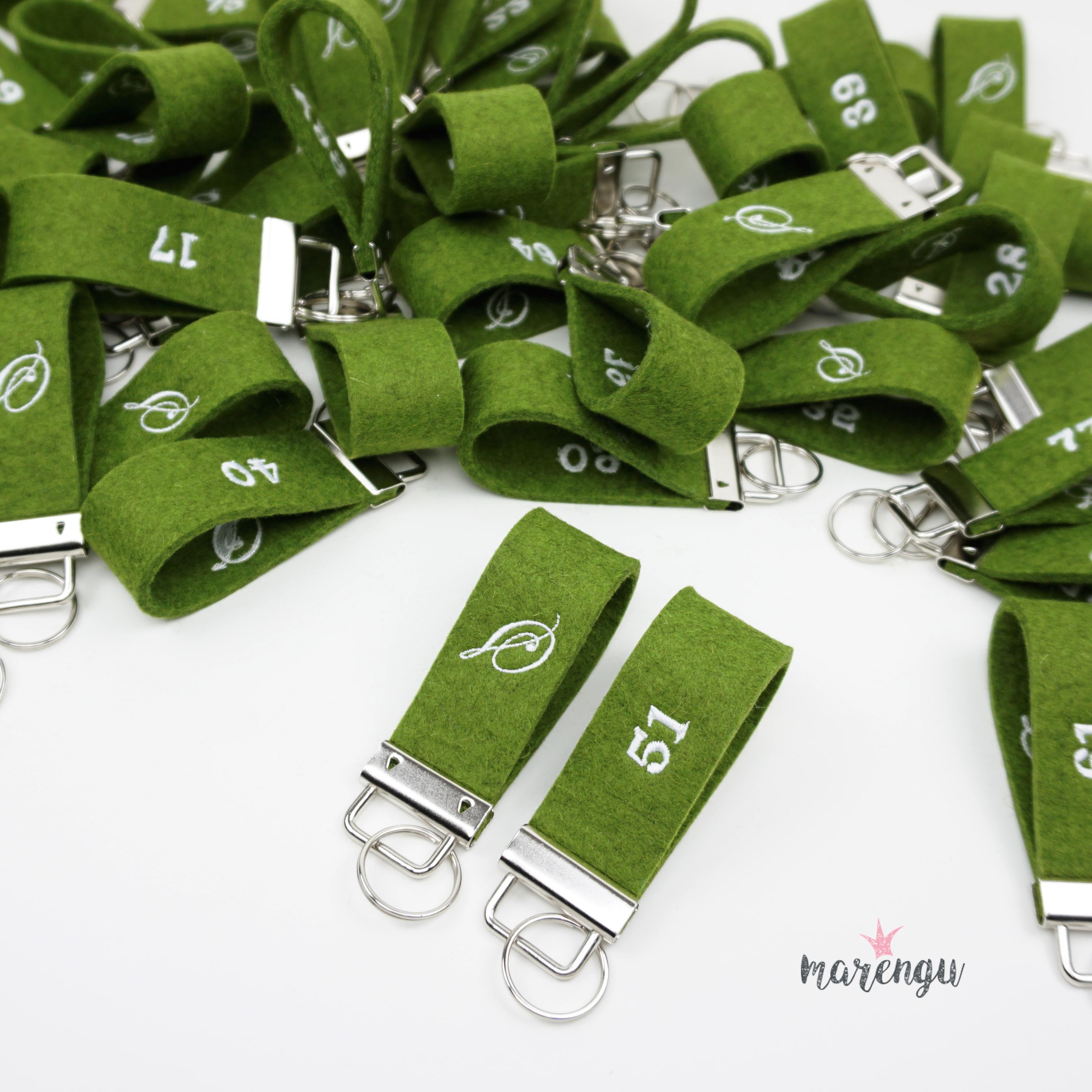 Hotel La Siala - Bestickte Schlüsselanhänger aus Wollfilz mit Logo und Zimmernummer - marengu