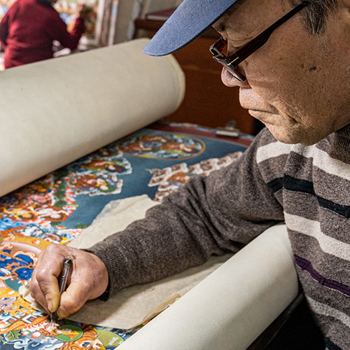 Traditionelles Herstellungsverfahren von Thangka Bildern