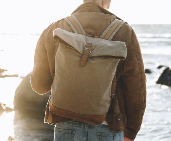 Men Backpack Leather darkbrown