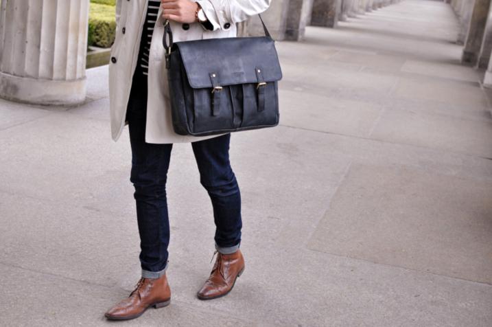 Bürotasche in schwarz anthrazit aus Ziegenleder