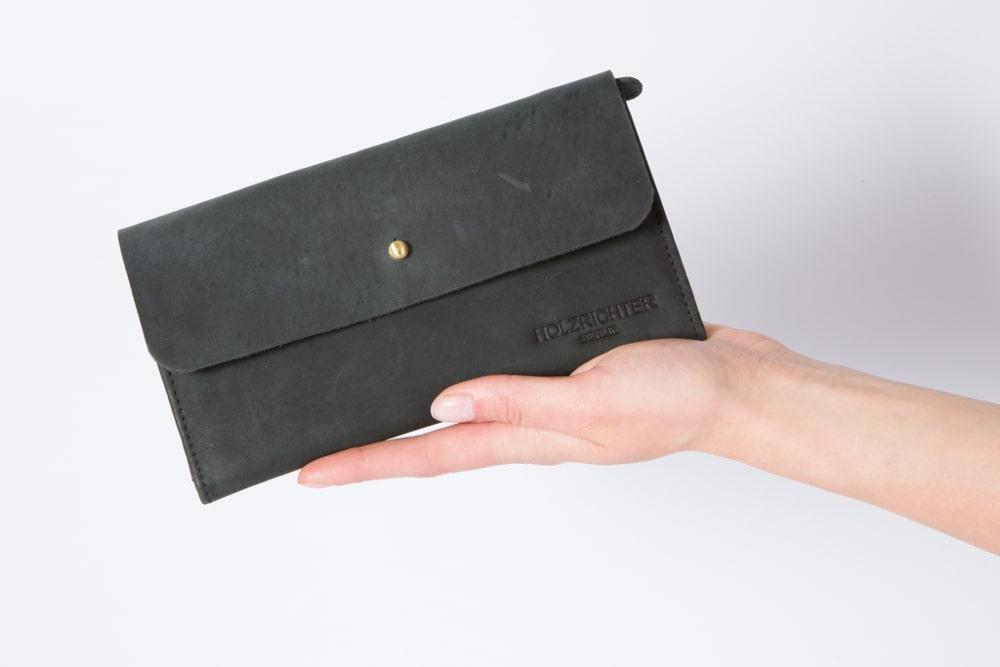 Damen Portemonnaie Leder in schwarz