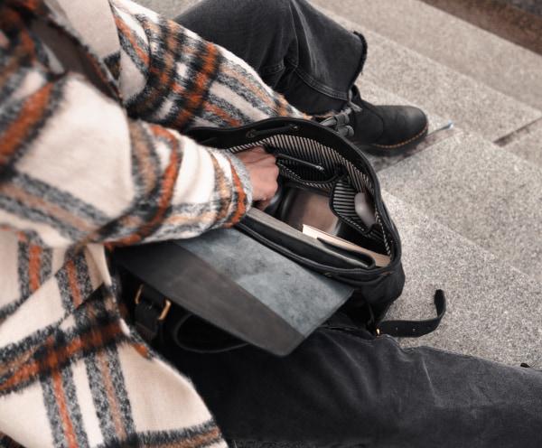 Rucksack aus Leder und Canvas