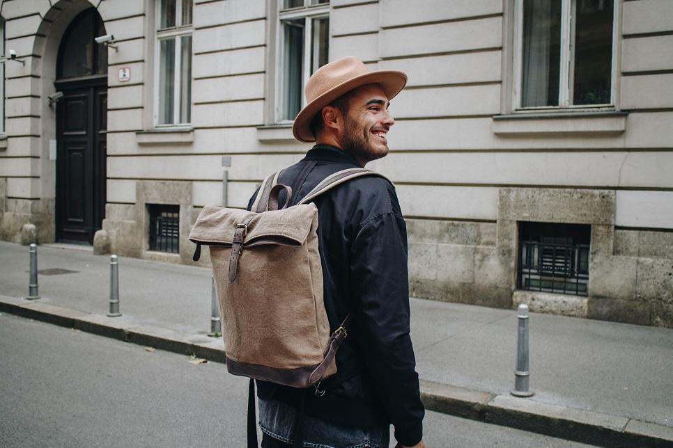Herren Leder Rucksack aus Canvas von HOLZRICHTER Berlin