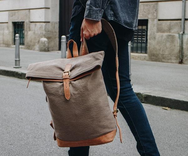 Canvas Reise Rucksack aus Leder