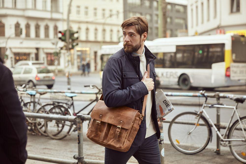 Messenger Bag Umhängetasche aus Leder für Herren und Damen