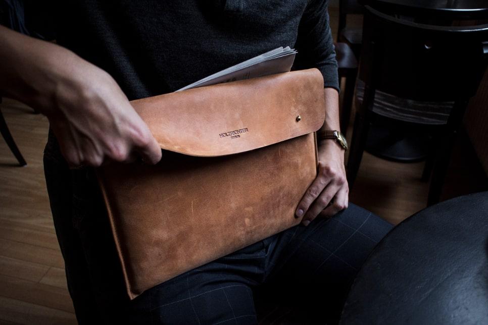 Laptophülle aus Leder