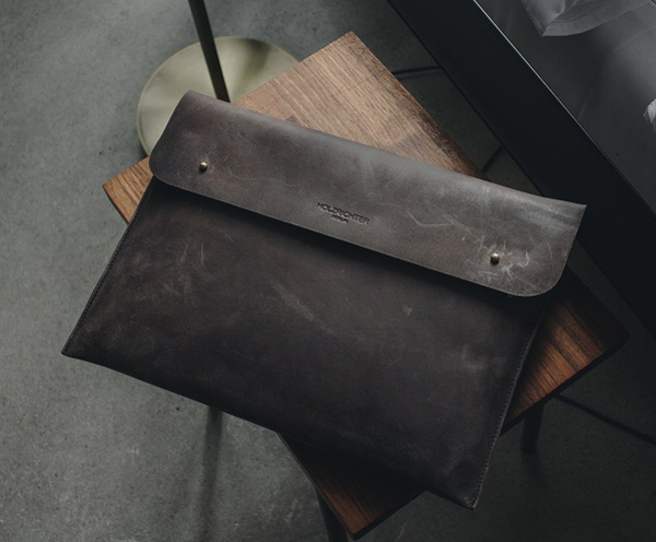 Macbook Ledertasche schwarz