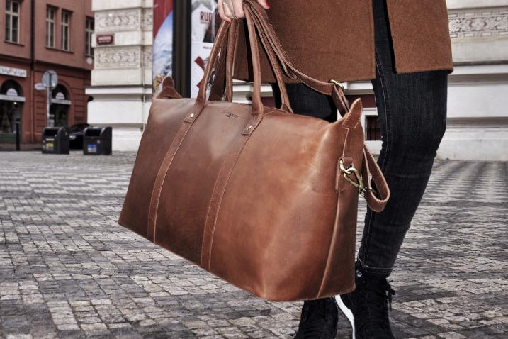 Mittelgroße Damen Reisetasche Leder
