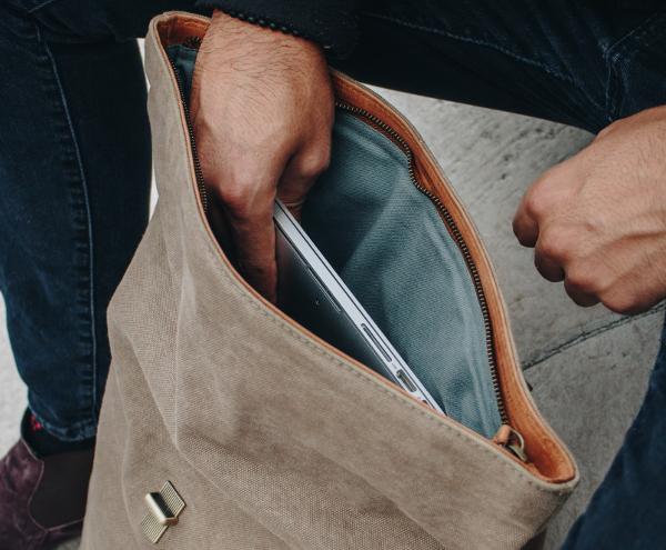 Rucksack Innenansicht mit Reißverschluss