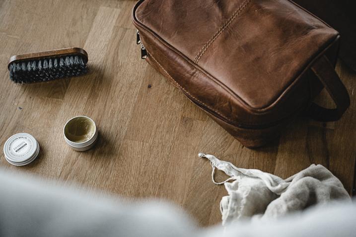 Kulturtasche aus Leder