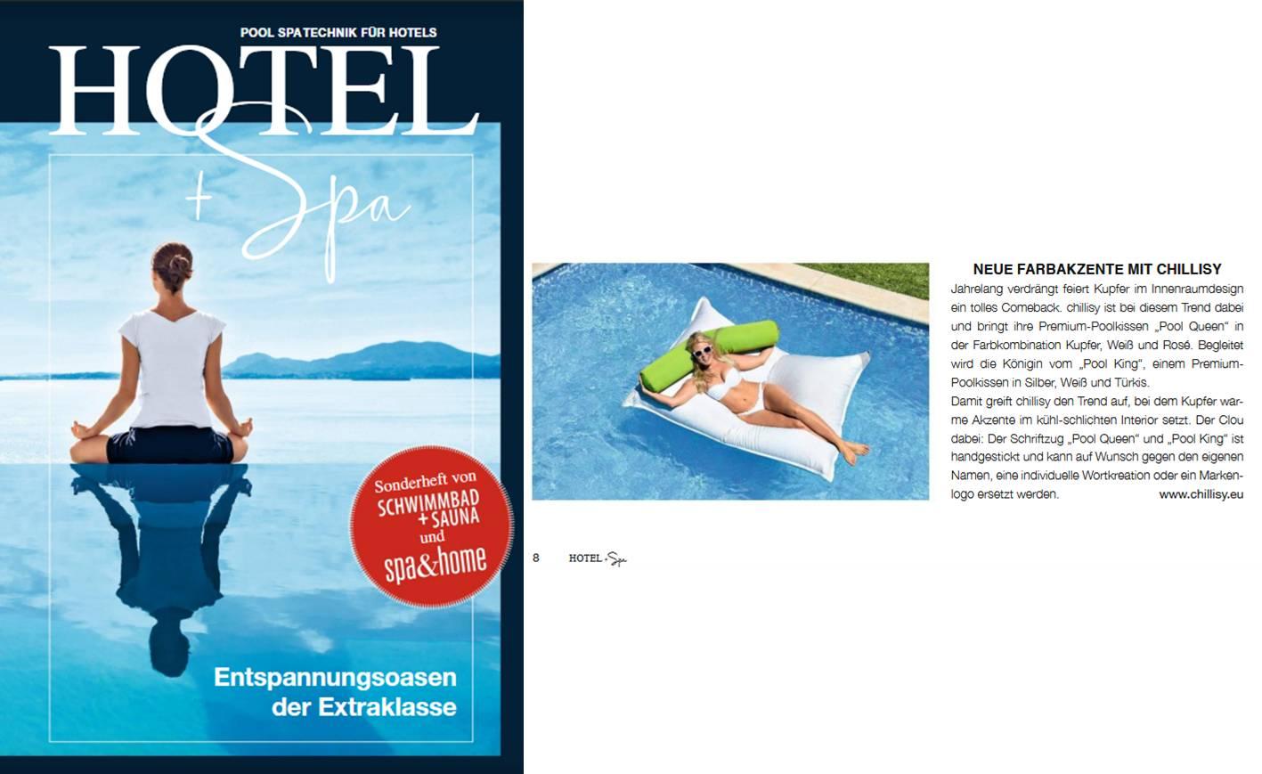 "Pool Sitzsack ""Mallorca"" im Magazin HOTEL & SPA 2019"