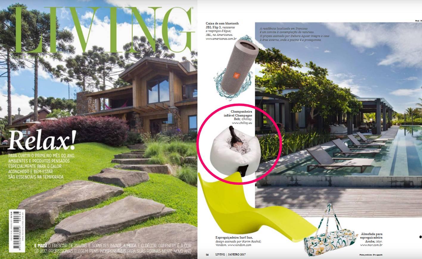 """Schwimmender Flaschenkühler """"Champagne Belt"""" im Magazin LIVING (Brasilien)"""