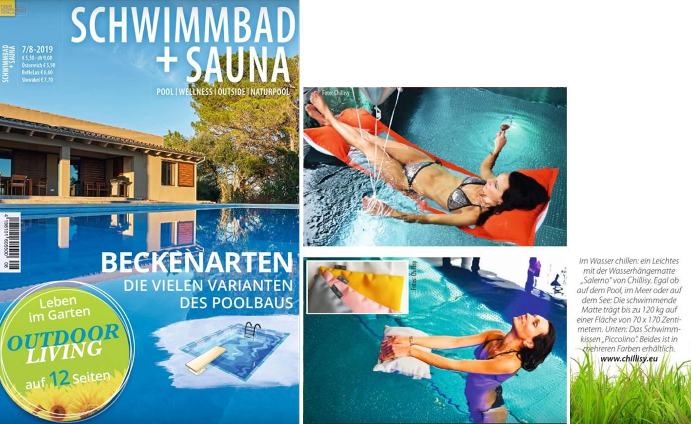 Schwimmkissen & Strandkissen Piccolino mit Wasser Hängematte im Magazin Schwimmbad + Sauna 2019