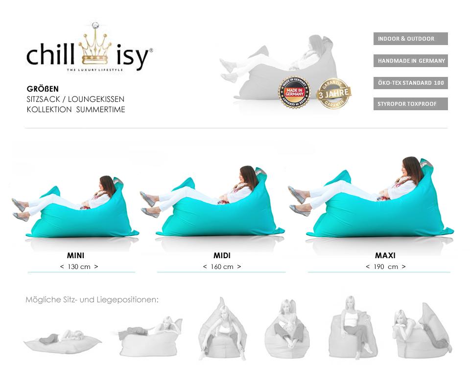 Größen der Luxus Sitzsäcke für Outdoor und Indoor von chillisy
