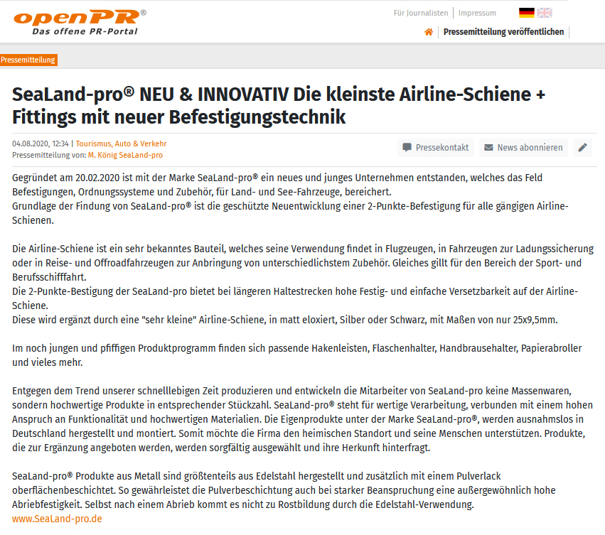 SeaLand-pro neu und innovativ, open PR