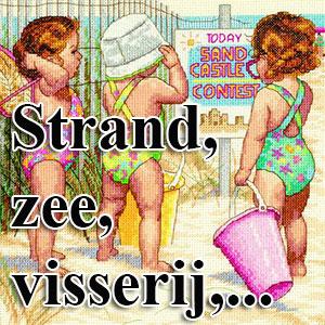 borduurpakketten met telpatroon - strand, zee, visserij,...