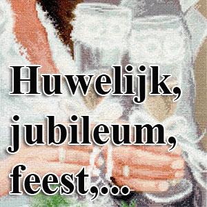 borduurpakketten met telpatroon - huwelijk, jubileum, feest,...