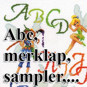 borduurpakketten met telpatroon - abc, merklappen, samplers,...