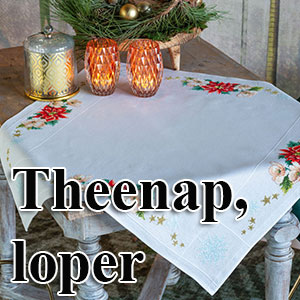 borduurpakketten met telpatroon - theenappen en tafellopers