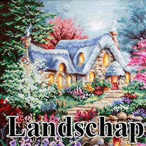 borduurpakketten met telpatroon - landschappen en tuinen
