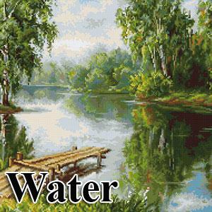 borduurpakketten met telpatroon - landschappen met water