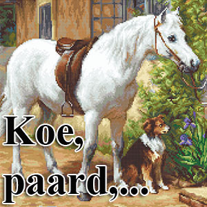 borduurpakketten met paarden, koeien, schapen,...
