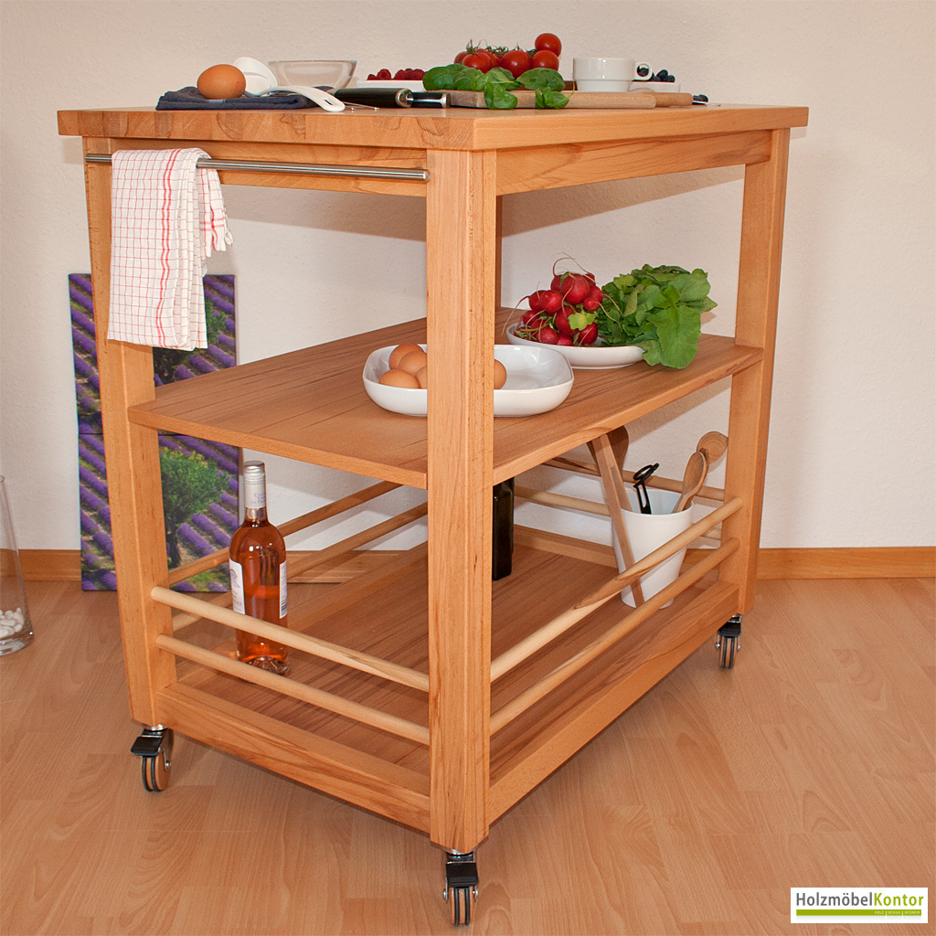 Küchenwagen | Massivholz | Rollwagen | holzmoebelkontor.de